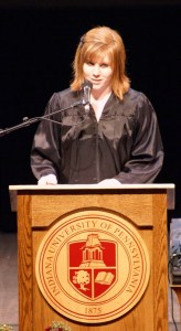 IUP Student Government Association President Alyssa M. Stiles addresses Freshman Convocation in Fisher Auditorium, Aug. 30, 2009. Photo by Brandon Oakes