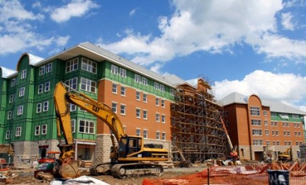 Construction of the Crimson Suites on the IUP campus proceeds, May 3, 2010. Photos by Ida Arici.