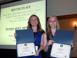 Aleda Johnson (left) and Abbey Zelko display their award certificates at the April 10 Pennsylvania NewsMedia Association luncheon at the Hershey Lodge and Convention Center. Photo by David Loomis.