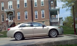 A 2010 Lincoln MKZ driven by IUP President Tony Atwater was photographed April 15 in a 24/7 reserved parking space outside Sutton Hall on the IUP campus. Photo by Megan Guza
