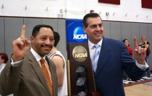 IUP President Tony Atwater and IUP men's basketball Coach Joe Lombardi at NCAA Regional Championship, IUP's Memorial Field House, March 16. Photo by Brandon Oakes