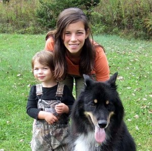 Indiana County Farmers Market director Chloe Drew, with daughter Madelyn and dog Rocco. Submitted photo.