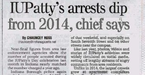 April 5, 2015, Indiana Gazette story on post-IUPatty's police report.