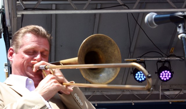 Trombonist Jeff Bush performs with the Nevin Saylor Big Band.