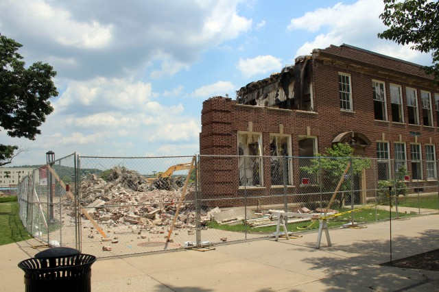 Gutted Keith Hall from behind Leonard and McElhaney halls, June 11, 2016. Photos by Ethan Brogan.