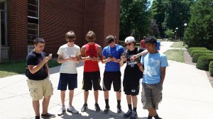 Six Indiana Area High School students play Pokemon Go on the IUP campus, July 11. By Ethan Brogan.