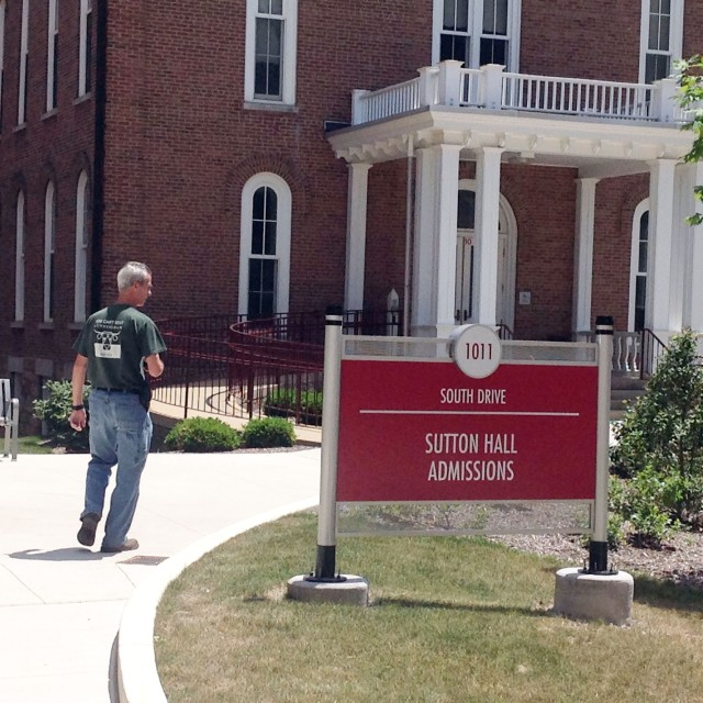 Sutton Hall signage, July 2016. Photo by David Loomis.