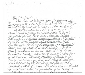 "A photocopy of the opening portion of the ""Dear Mr. Martin"" letter analyzed by the FBI and documented in a December 2005 letter from a federal agent to Pennsylvania state police. Click to enlarge."