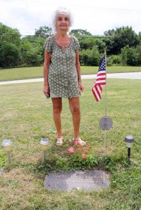 Pauline Alexander at her late husband's grave, the Saints Simon & Jude Cemetery, old U.S. Route 119, Blairsville, August 4, 2016. Photo by David Loomis.