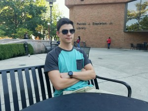 Campus-climate-study critic Anthony T. Petrucelli, a sophomore political-science major at Indiana University of Pennsylvania, at Stapleton Library, Sept. 23, 2016. Photo by Logan Hullinger.
