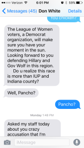 "Screen shot of a Sept. 18 text message exchange between state Sen. Don White, R-41st, and Democratic challenger Tony DeLoreto in which White refers to DeLoreto as ""Pancho."" DeLoreto described the term as a ""slur."""