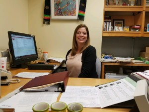 Professor Melissa L. Swauger, Ph.D., co-author of campus climate study, in her McElhaney Hall office, Sept. 20. Photo by Logan Hullinger.