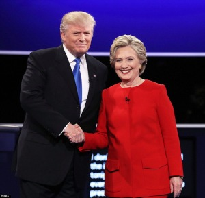 Donald Trump and Hillary Clinton, presidential debate, Hofstra University, Sept. 26, 2016. Courtesy Daily Mail.