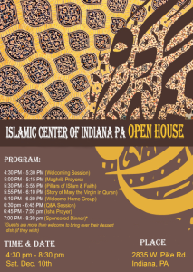 A flier for the Dec. 10 open house at the Islamic Center.