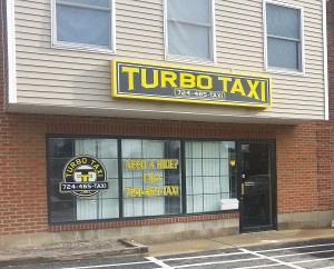 Turbo Taxi office on Oakland Avenue, Indiana, Pa., Jan. 22, 2017. Photo by Ethan Brogan.